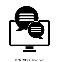 pictogram, communicatie, gesprek, computer, tekstballonetje