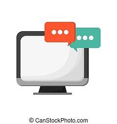 pictogram, computer, bel, gesprek