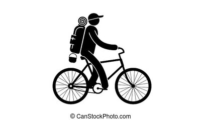 Pictogram cyclist tourist with large backpack rides bike on...