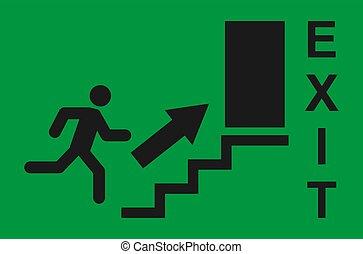 pictogram, deur, veiligheid, symbool., afslaf, helpen, man, vector, rennende , teken., evacuatie, ontsnapping