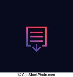 pictogram, document, downloaden, vector