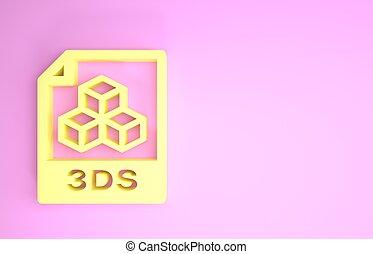 pictogram, document., symbool., render, vrijstaand, minimalism, bestand, downloaden, gele, 3ds, knoop, concept., achtergrond., illustratie, roze, 3d