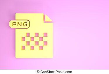 pictogram, document., symbool., render, vrijstaand, minimalism, bestand, downloaden, gele, knoop, illustratie, concept., achtergrond., png, roze, 3d