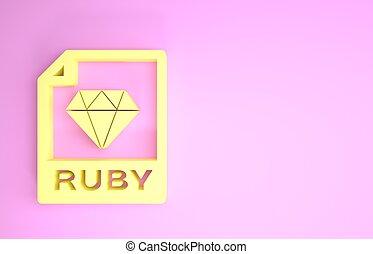 pictogram, document., symbool., render, vrijstaand, robijn, bestand, minimalism, downloaden, gele, knoop, illustratie, concept., achtergrond., roze, 3d