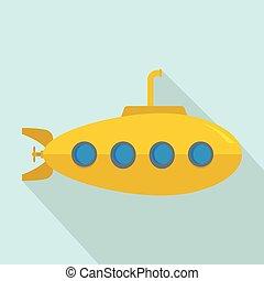 pictogram, duikboot, stijl, gele, plat