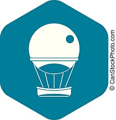pictogram, eenvoudig, balloon, stijl, aerostat