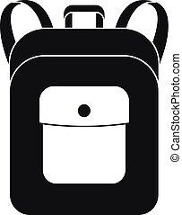 pictogram, eenvoudig, schooltas, aantekenboekje, stijl