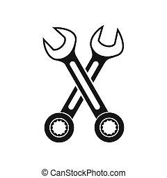 pictogram, eenvoudig, stijl, gekruiste, moersleutels