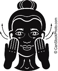 pictogram, eenvoudig, stijl, gezichtsmassage