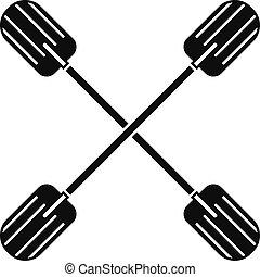 pictogram, eenvoudig, stijl, kruis, peddel