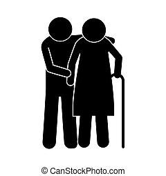pictogram elderly couple with walking stick vector illustration