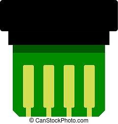pictogram, elektronisch, vrijstaand, circuit plank