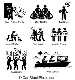 pictogram, figura, gente, activists, icons., palo, animal, organización