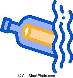 pictogram, fles, boodschap, vector, illustratie, schets