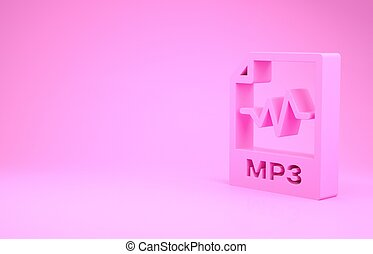 pictogram, formaat, illustratie, roze, render, knoop, downloaden, document., 3d, vrijstaand, minimalism, achtergrond., muziek, teken., mp3 dossier, concept., symbool.
