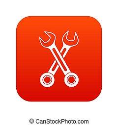 pictogram, gekruiste, moersleutels, rood, digitale