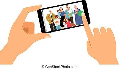 pictogram, gezin, selfie