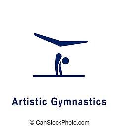 pictogram, ginnastica, artistico, nuovo, icon., sport