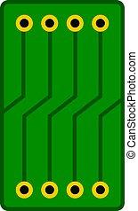 pictogram, groene, vrijstaand, circuit plank