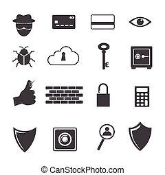 pictogram, groot, crimineel, computer gegevens