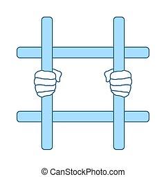 pictogram, handen, gevangenis, vasthouden, staaf