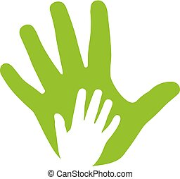 pictogram, handen, volwassene, gezin, geitje