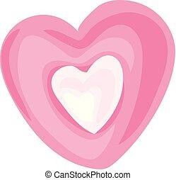 pictogram, hart, stijl, spotprent, versuikeren