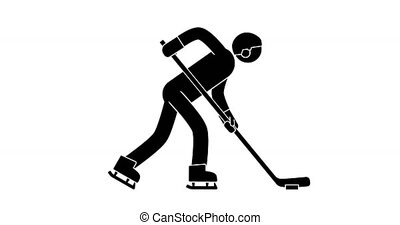 Pictogram Hockey Player leads the puck. Icon winter sport...