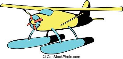 pictogram, hydroplane, spotprent, pictogram