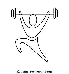 pictogram, icono, weightlifting, contorno, hombre