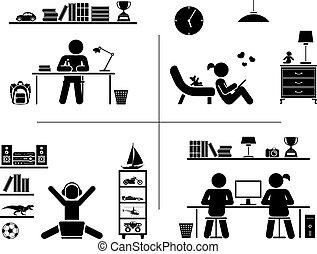 pictogram, ikon, set., gyerekek, tanulás, alatt, -eik, room.