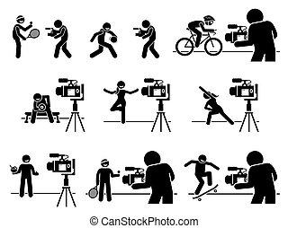 pictogram., influencers, フィットネス, 食事, 媒体, スポーツ, 内容, 創造者, インターネット, ビデオ, 社会