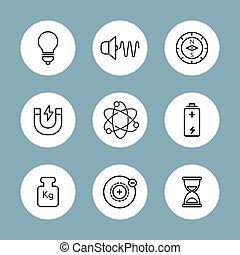 pictogram., isolé, style., physique, icons., linéaire