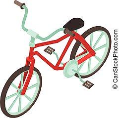 pictogram, isometric, fiets, stijl