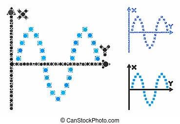 pictogram, items, perceel, spheric, sinusoid, mozaïek