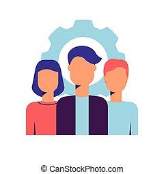 pictogram, jonge, professionals., kleurrijke, team, vector