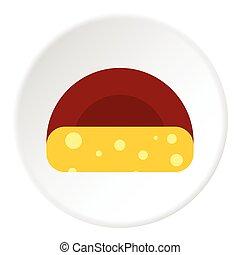 pictogram, kaas, stijl, hollandse, plat