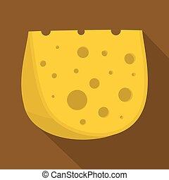 pictogram, kaas, stijl, plat