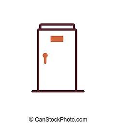 pictogram, kamer, vrijstaand, open deur
