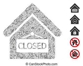 pictogram, kantoor, gesloten, collage, estafette