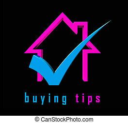 pictogram, kopen, woning, raad, -, illustratie, hints, portrays, tips, eigendom, aankoop, 3d