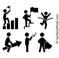 pictogram, lakás, siker, ikonok, emberek, elszigetelt, fehér
