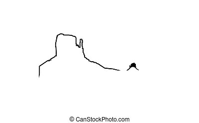 pictogram, landmark., canyon., wildernis, voornaam