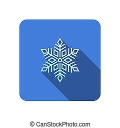 pictogram, lang, schaduw, plat, sneeuwvlok, vector