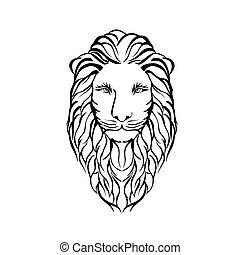 pictogram, leeuw, wild, vector, mal, logo