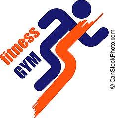 pictogram, logo, rennende , fitness, silhouette, man, vector