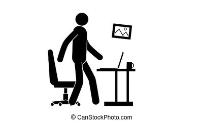 Pictogram man at work with laptop on table during an...