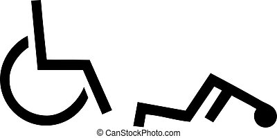 Pictogram man falling out of his wheelchair