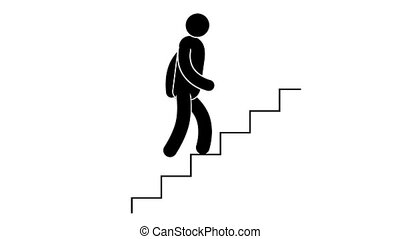 Pictogram man is going upstairs. Loop animation with...