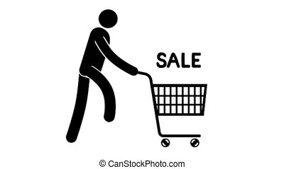 Pictogram man is running with shopping cart for a sale....